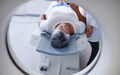 woman about to receive a nuclear imaging scan