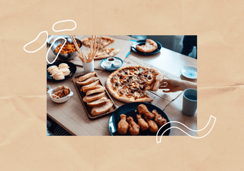 Ultra-processed foods like pizza and chicken wings.