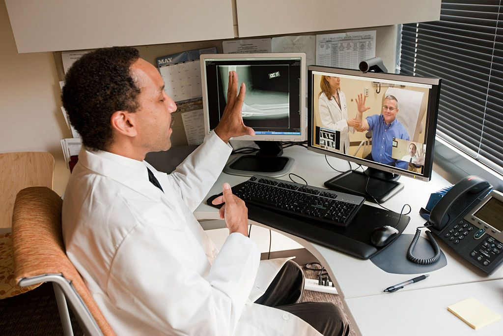 Telehealth appointment between doctor and patient