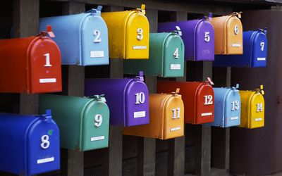 Colorful mailboxes with numbers