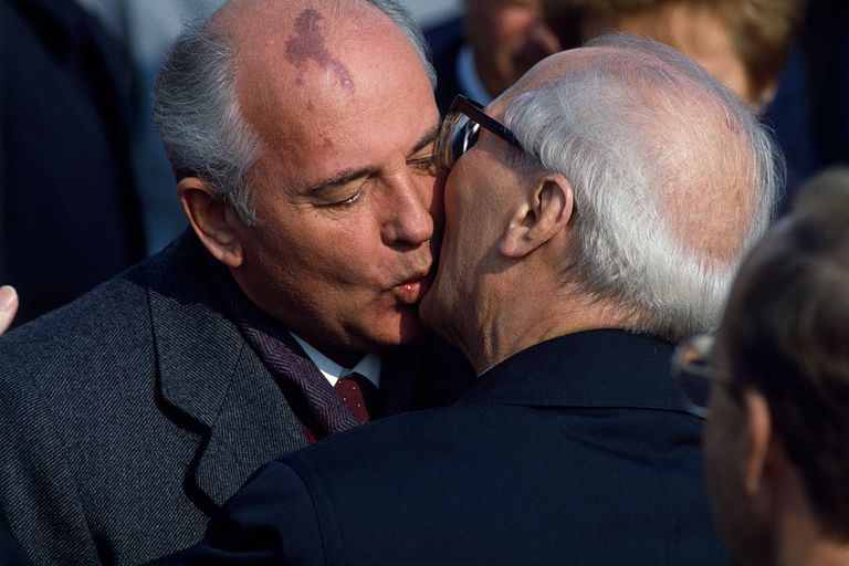 40th Anniversary of the GDR Leader of USSR Mikhail Gorbachev kissing East German President Erich Honecker during the 40th Anniversary of the German Democratic Republic (GDR)