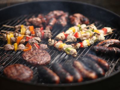 Meat grilling on barbeque