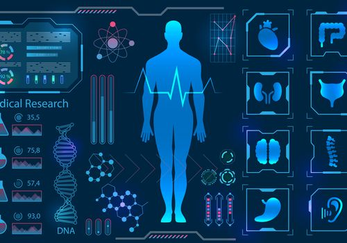Computer generated illustration of a man's body with different modules and information boxes surrounding the figure. The color scheme is blue, purple, and some red/pink.