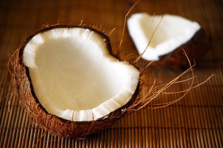 Cracked open coconut
