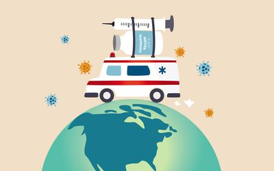 Ambulance or medical truck carrying COVID-19 vaccine and syringe on globe