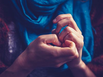 Close-up of anxious person's hands
