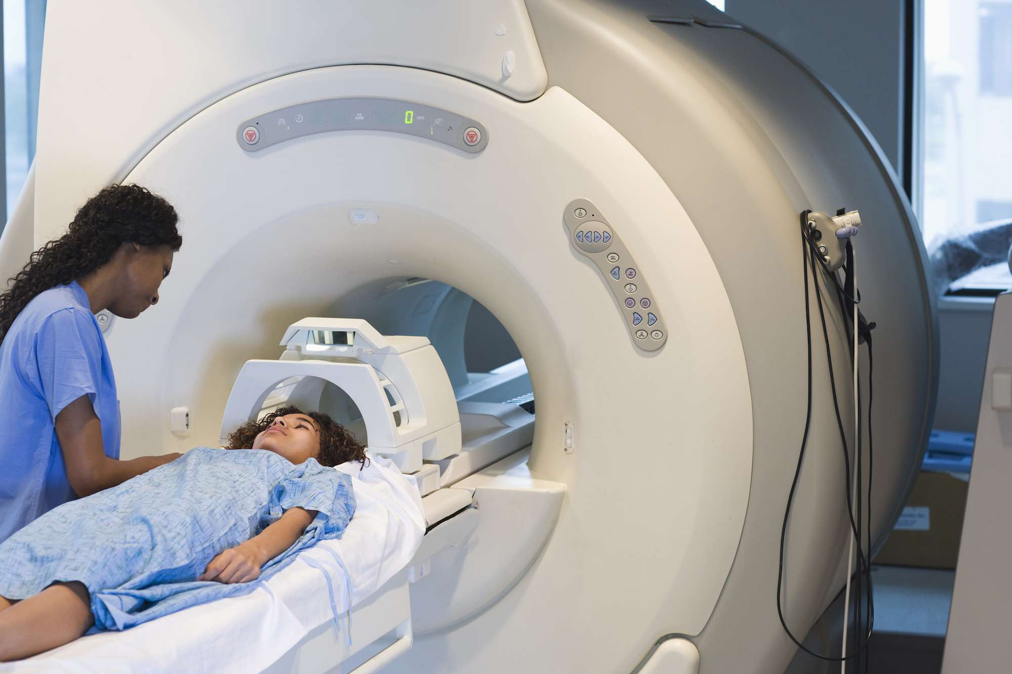 Woman going into an MRI