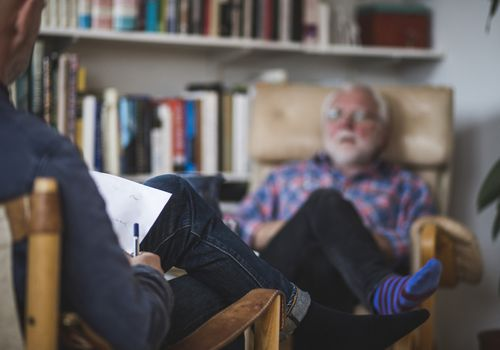 Man speaking to therapist