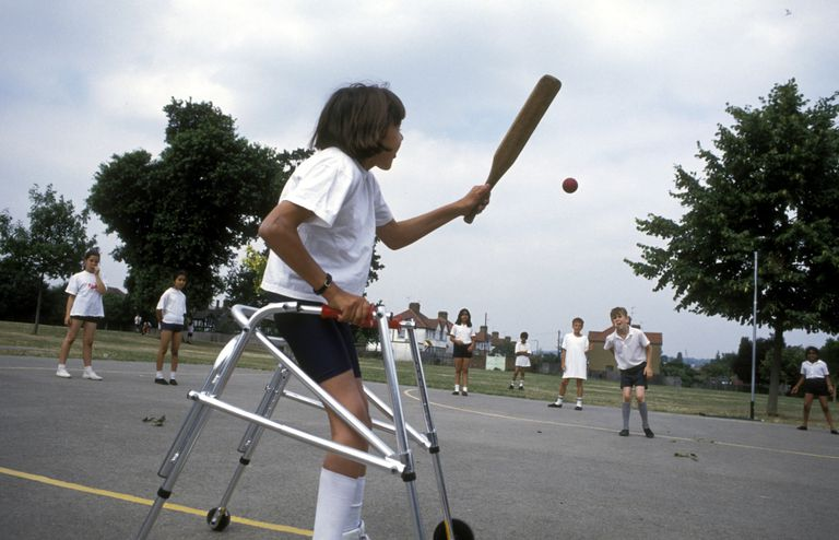 disabled girl playing cricket