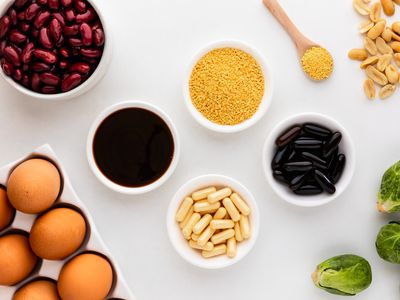 Lecithin capsules, softgel, granules, liquid, peanuts, brussel sprouts, eggs, and kidney beans