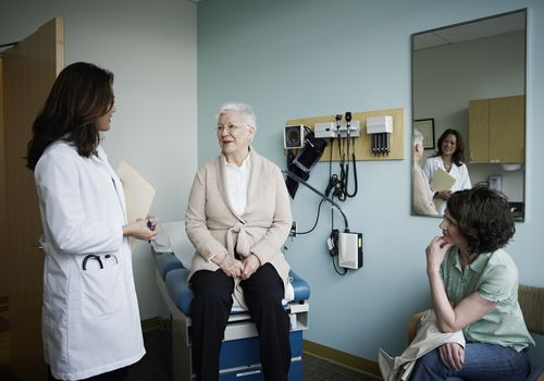 older woman visiting female doctor