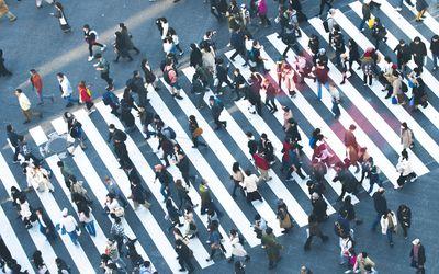 People walking around the city