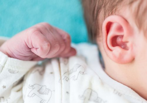 close-up of baby's ear