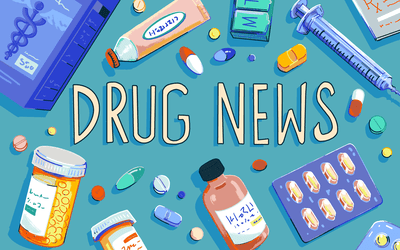 flat lay illustration of medications with 'drug news' text