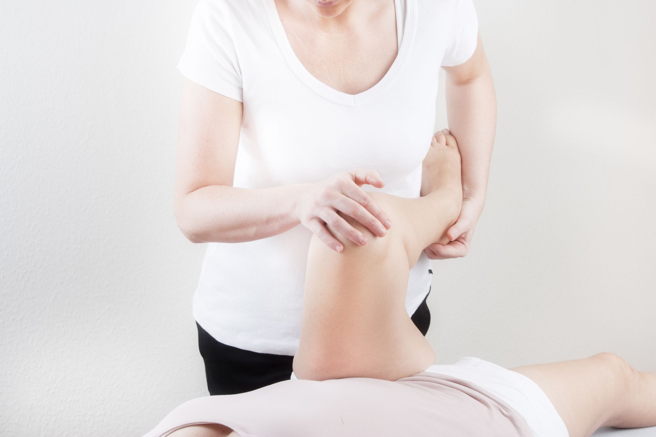 A person performing physical therapy