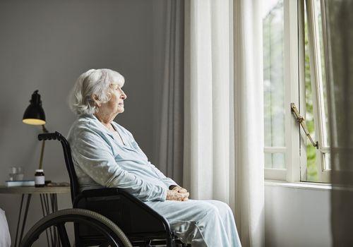 Older woman in wheelchair.
