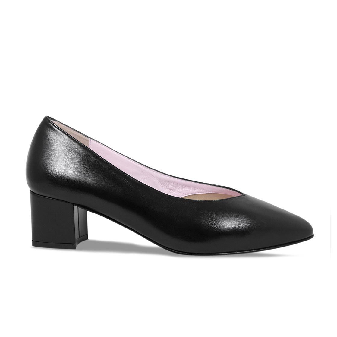 Ingrid Black Leather Heels