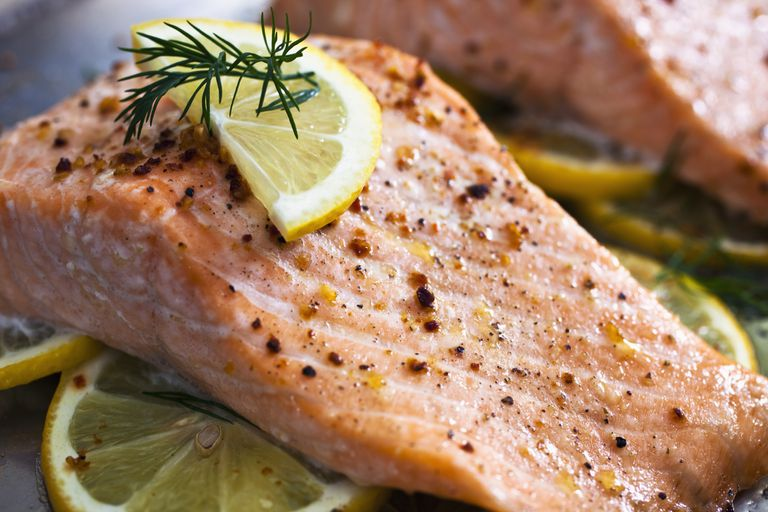 Baked salmon with lemon on top