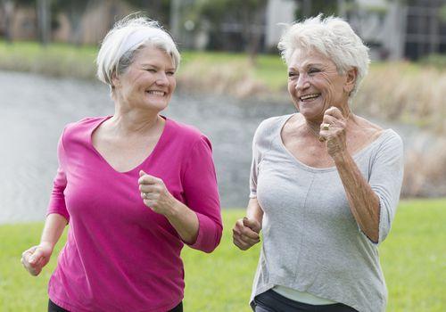 Senior women running in a park