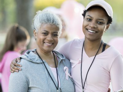 mother and daughter at breast cancer survivor walk