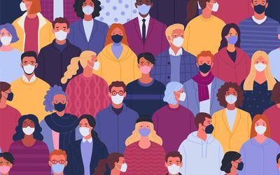 Crowd wearing face masks.