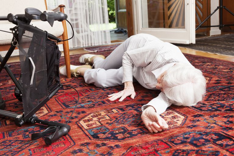An older woman who has fallen in her home