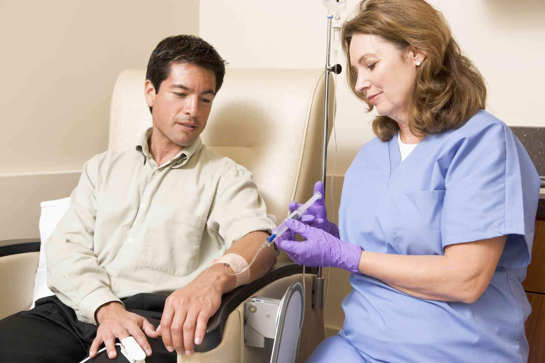 Nurse administering chemotherapy