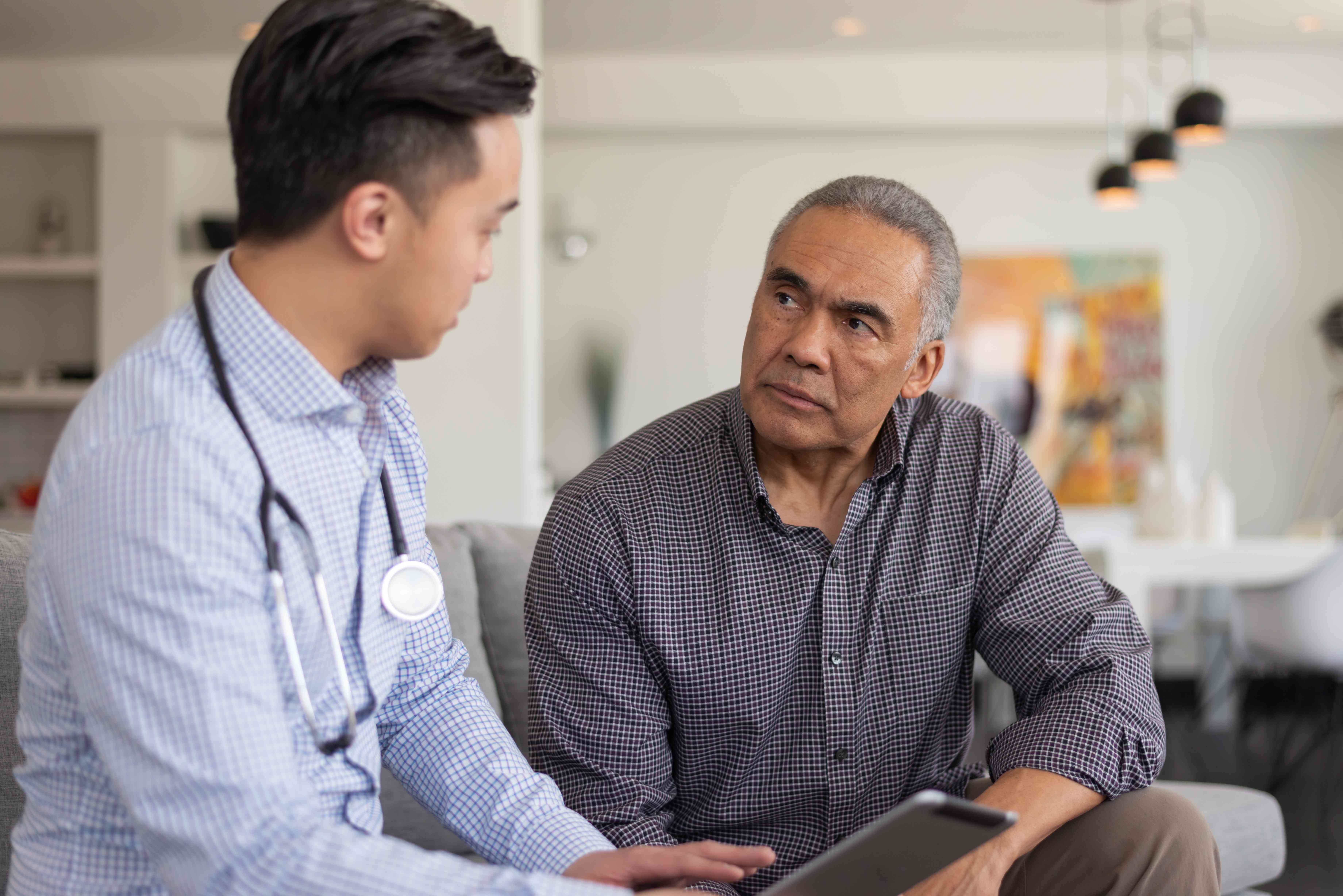 A doctor and a patient discuss depression