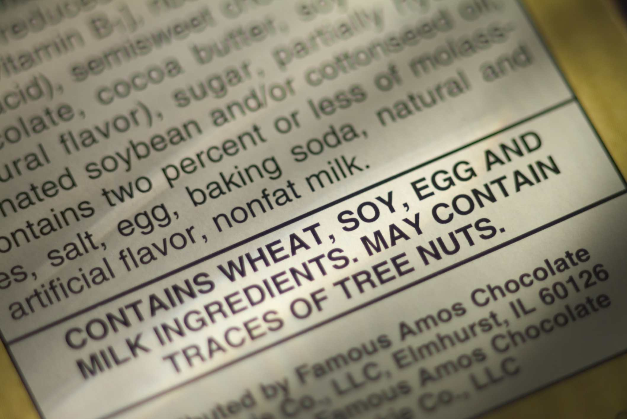 Food label with wheat warning