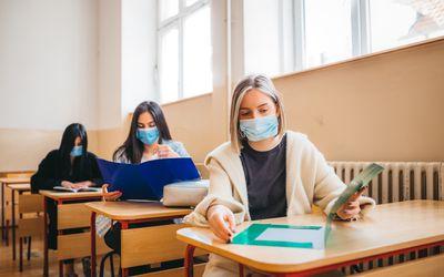 Students wearing masks.