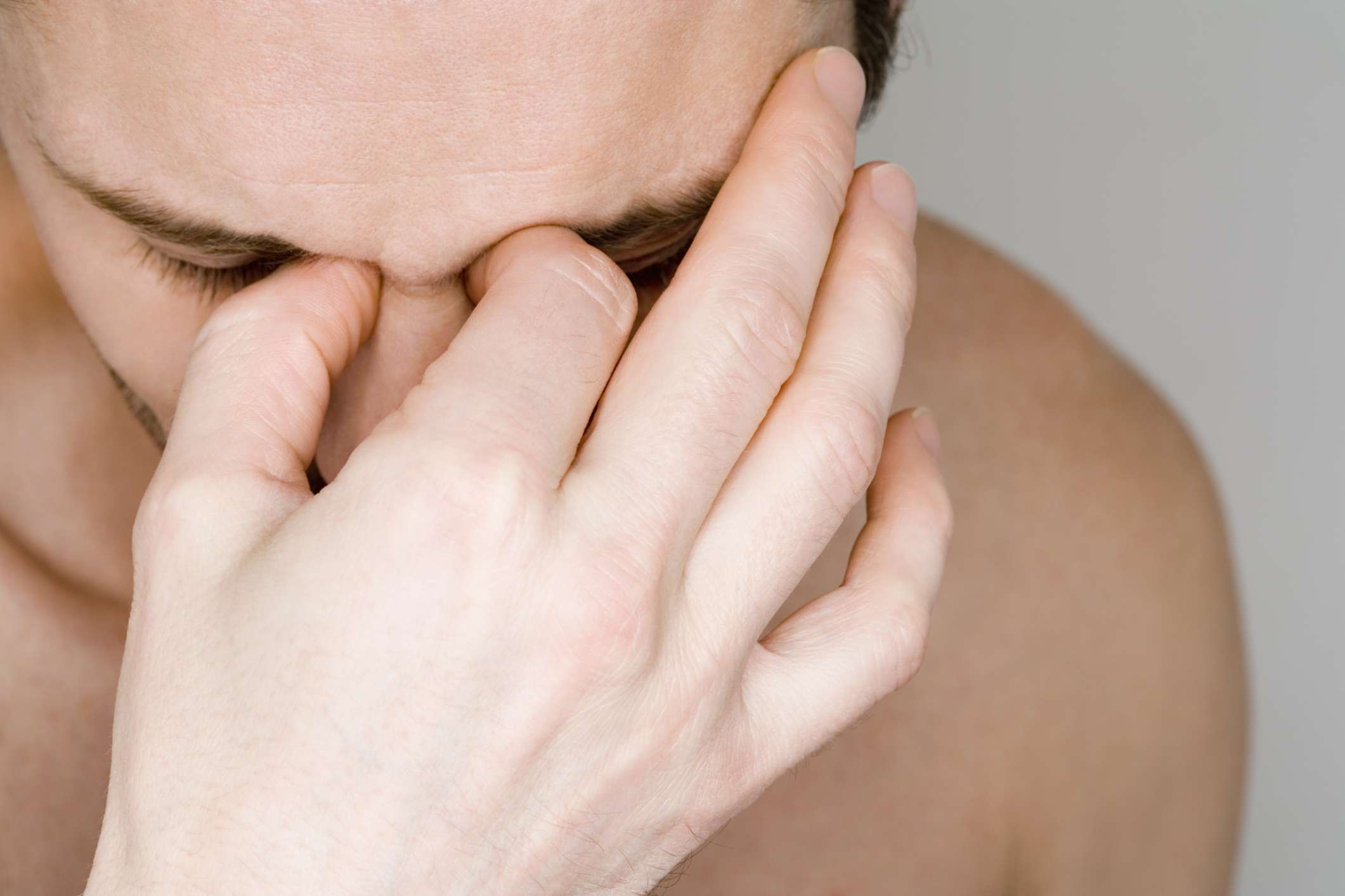 Man with painful sinuses