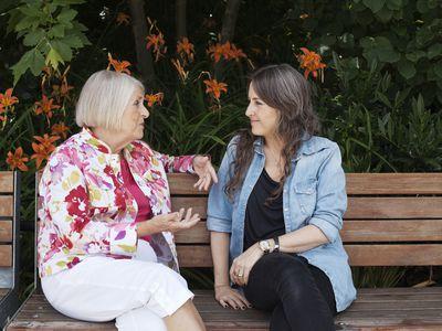 Older woman talking to daughter