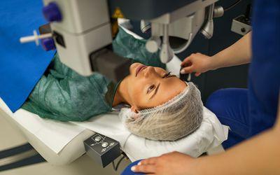 Preparing patient for laser eye surgery
