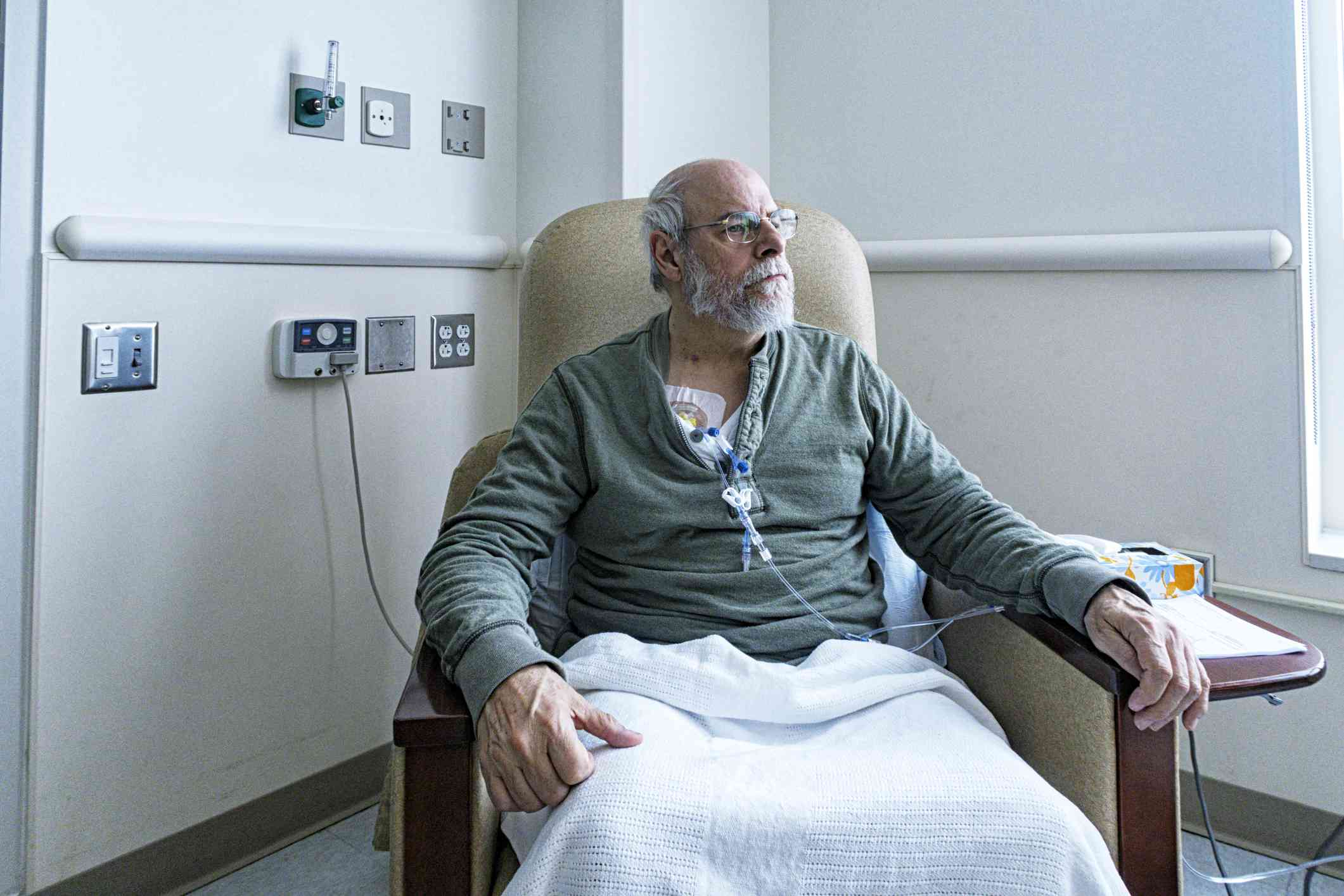 Senior Adult Man Cancer Outpatient During Chemotherapy IV Infusion