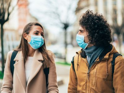 Young couple meet in quarantine