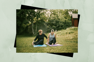 Two women exercising outdoors.