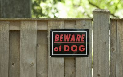 ?Beware of dog? sign on wooden fence