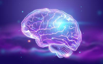 A digital illustration of a human brain on a blue-purple background