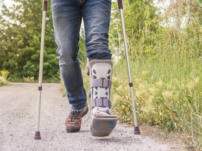 Ankle foot orthosis being used outside