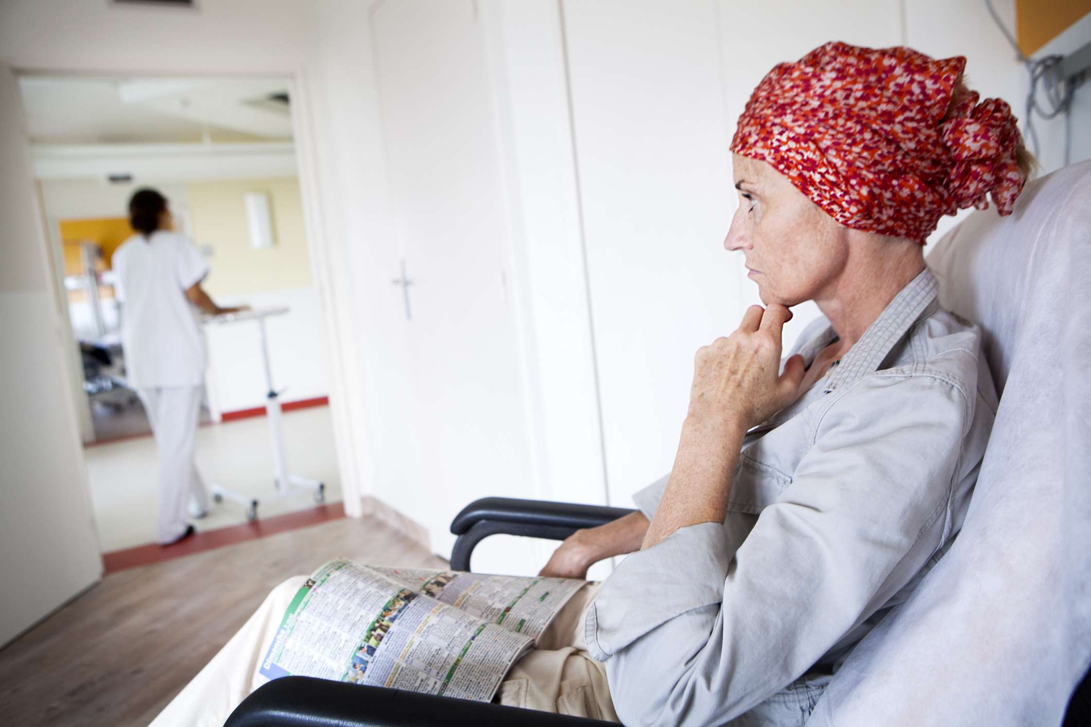 A woman undergoing chemotherapy