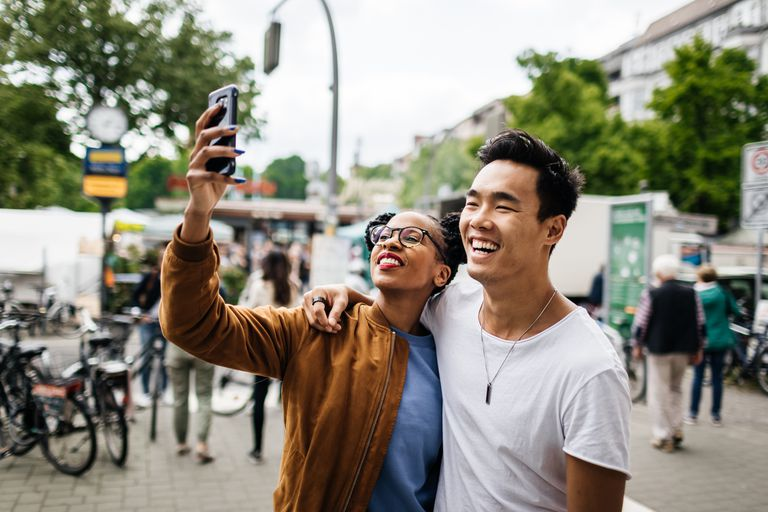 Tourists taking selfie