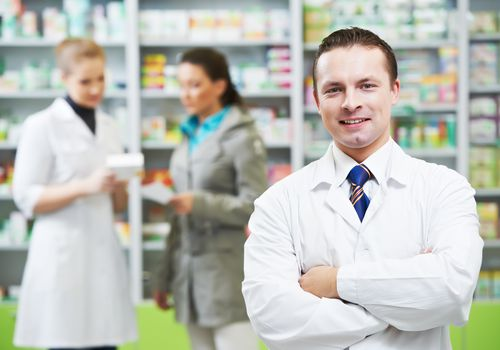 Pharmacists in a pharmacy