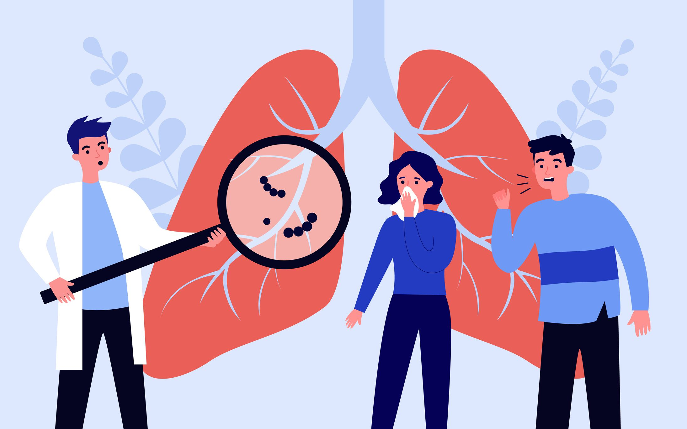 An illustration of a doctor holding a magnifying glass over a pair of lungs with two people looking at it—a woman with a tissue over her mouth and a man who is coughing.