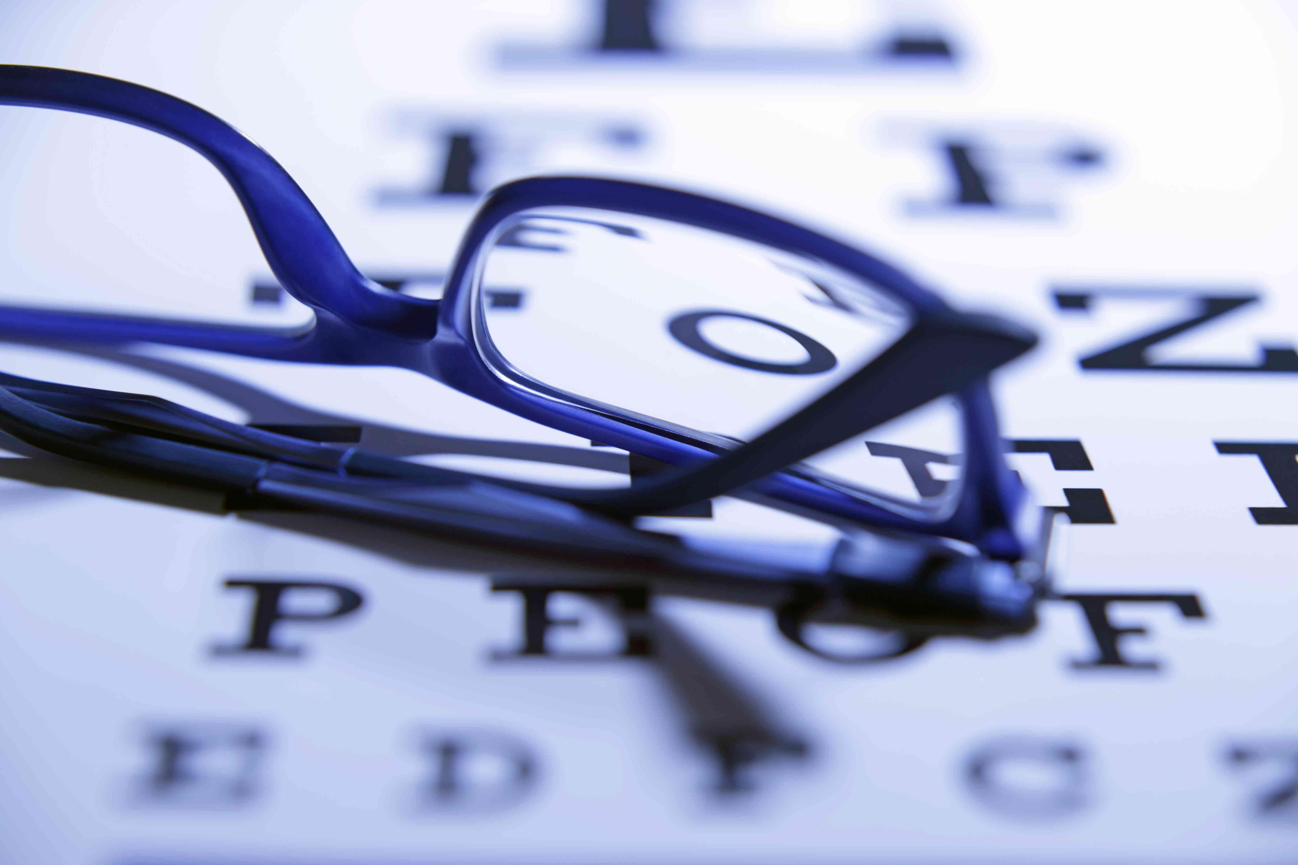 Eye glasses sitting on an eye exam chart