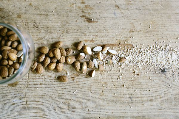 Chopped almonds, close-up