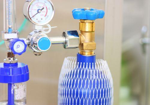 A blue medical oxygen concentrator
