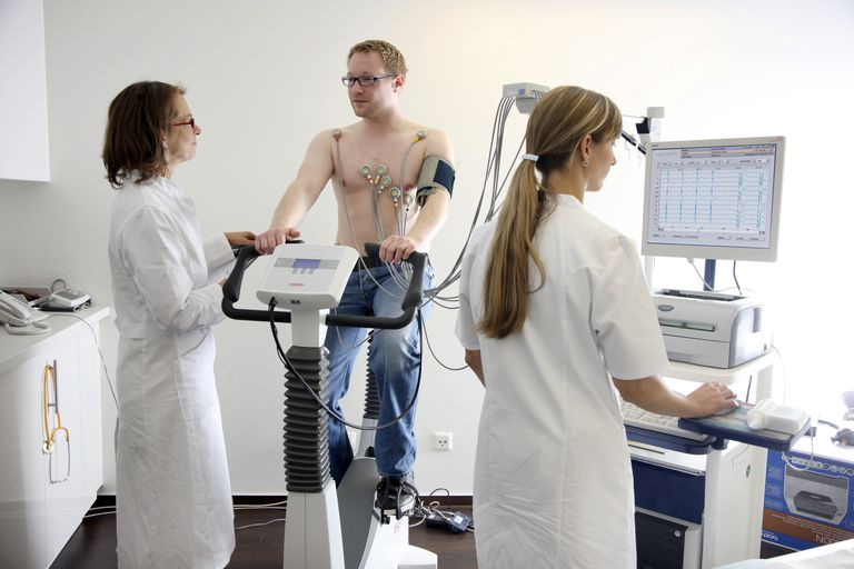 Medical practice, stress ECG, test to measure the cardiac function of a patient on a cardio machine
