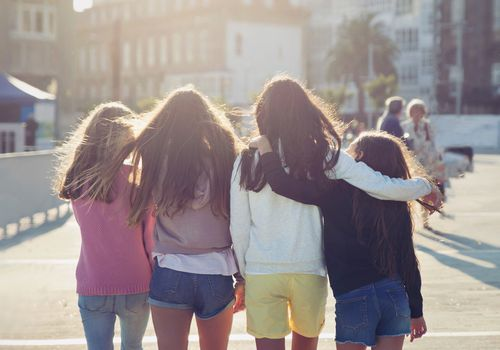 Group of girls walking together