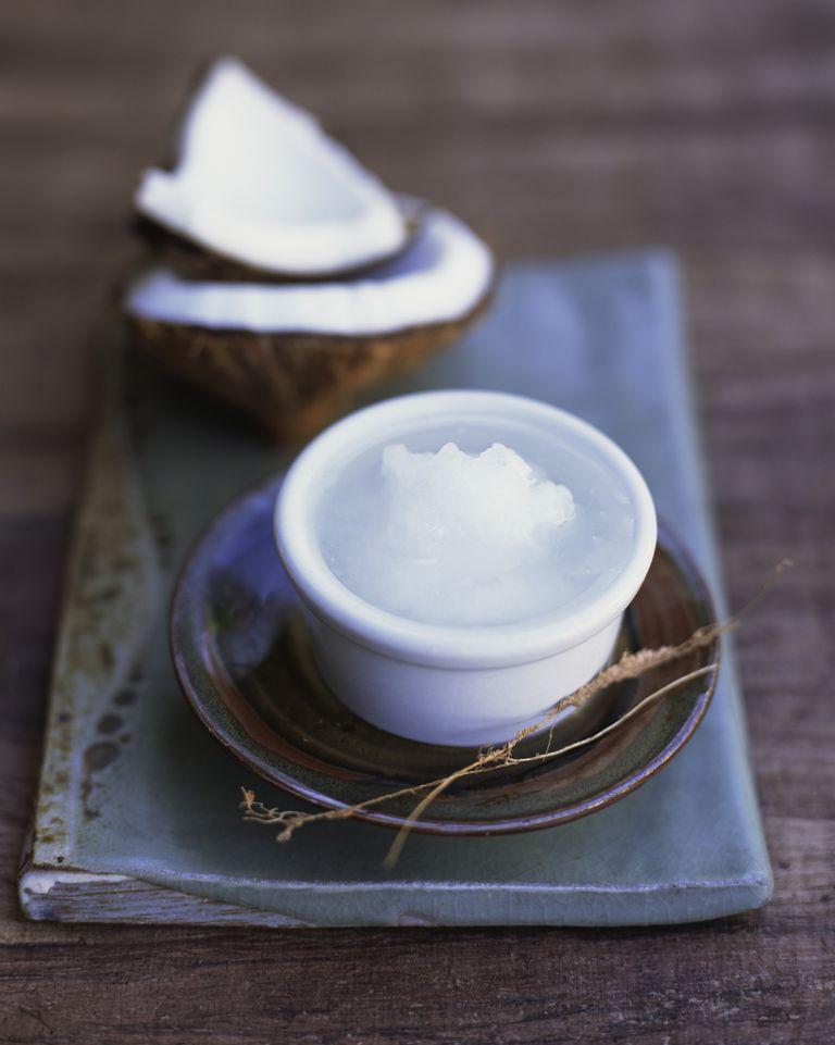 Coconut oil in a dish.