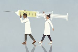 Two researchers carrying a vaccine syringe illustration.